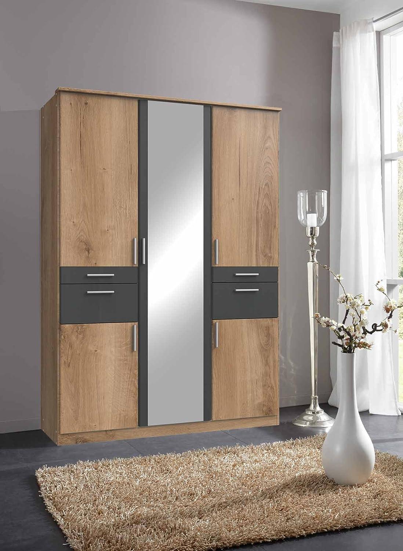 lifestyle4living Kleiderschrank 5-türig in Eiche/grau mit Schubladen und Spiegel | Drehtührenschrank mit vielen Fächern ca. 135 cm