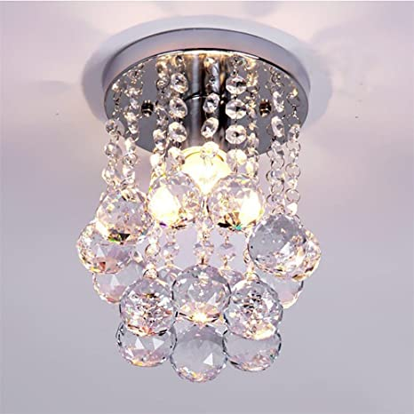 Amazon Com Mini Modern Crystal Chandeliers Flush Mount Rain Drop Pendant Ceiling Light For Girls Room Bedroom 6 29inch Home Kitchen
