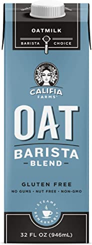 Califia Farms Unsweetened Oatmilk Barista Blend, 32 Oz | Whole Rolled Oats | Dairy Free | Gluten-Free | Vegan | Plant Based |