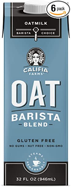 Califia Farms Unsweetened Oatmilk Barista Blend, 32 Oz | Whole Rolled Oats | Dairy Free | Gluten-Free | Vegan | Plant Based | Non-GMO | Can Be Used as Coffee Creamer