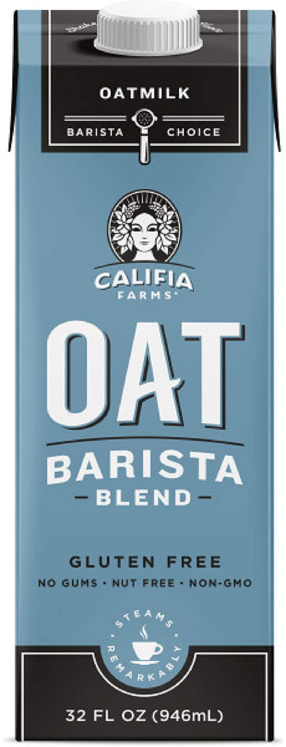 Califia Farms Unsweetened Oatmilk Barista Blend, 32 Oz (Pack of 6) | Whole Rolled Oats | Dairy Free | Gluten-Free | Vegan | Plant Based | Non-GMO