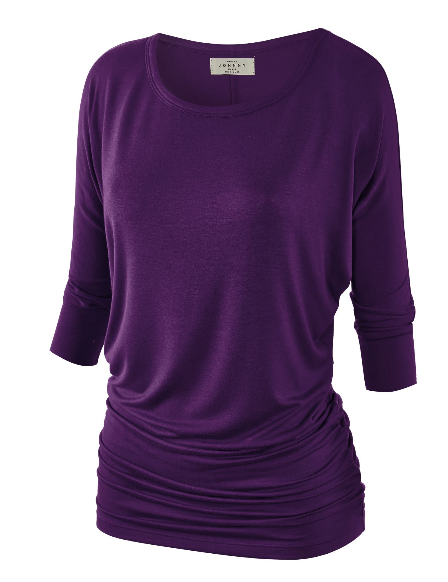Made By Johnny Women's 3/4 Sleeve Crew/V Neck Drape Dolman Top with Side Shirring XS-5XL Plus Size