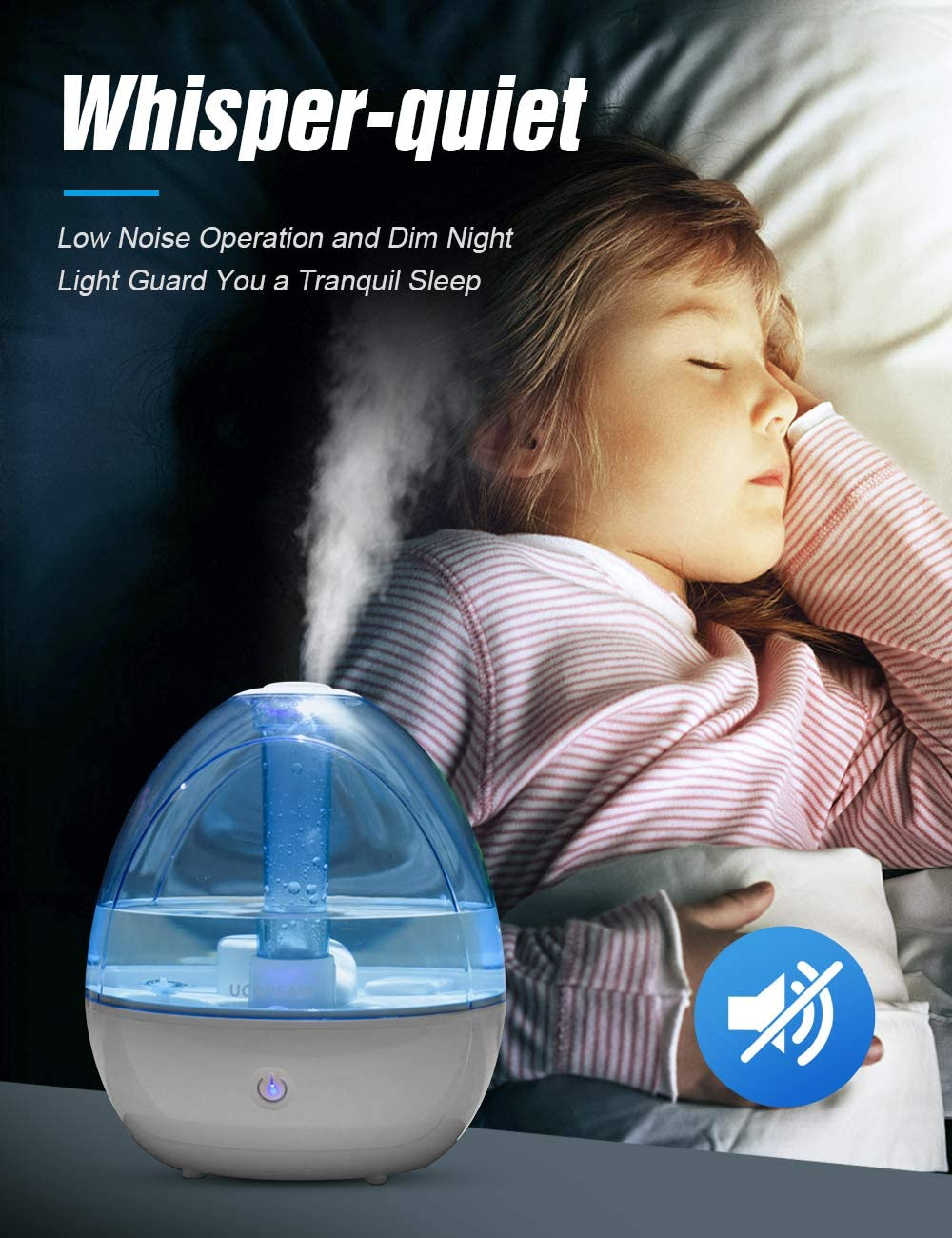 Cool Mist Humidifier Room Humidifier for Bedroom Baby, Super Quiet Mist Humidifier with High Low Mist Output, Waterless Auto off, Night Light,