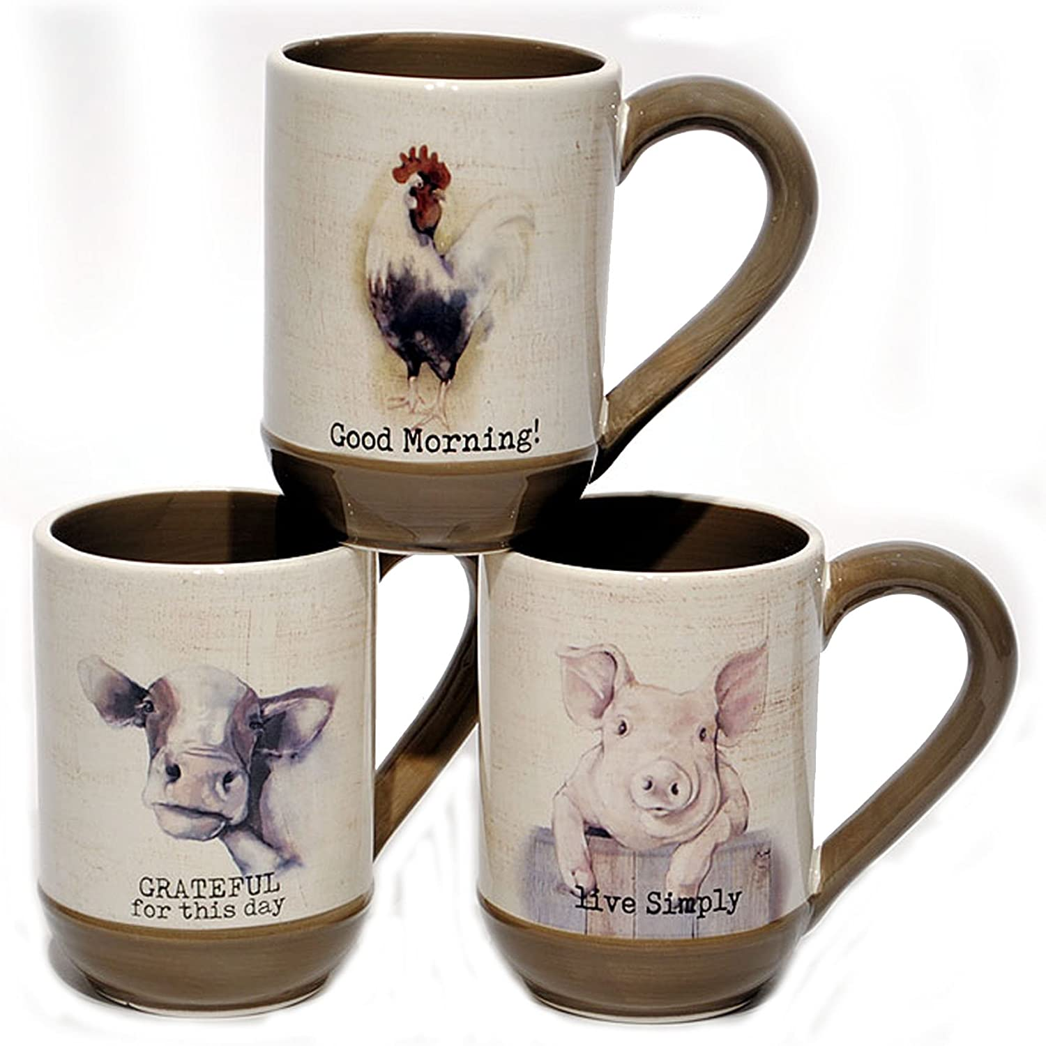 Amazon Com Young S Ceramic Farmhouse Coffee Mugs Pig Cow Rooster Set Of 3 Kitchen Dining