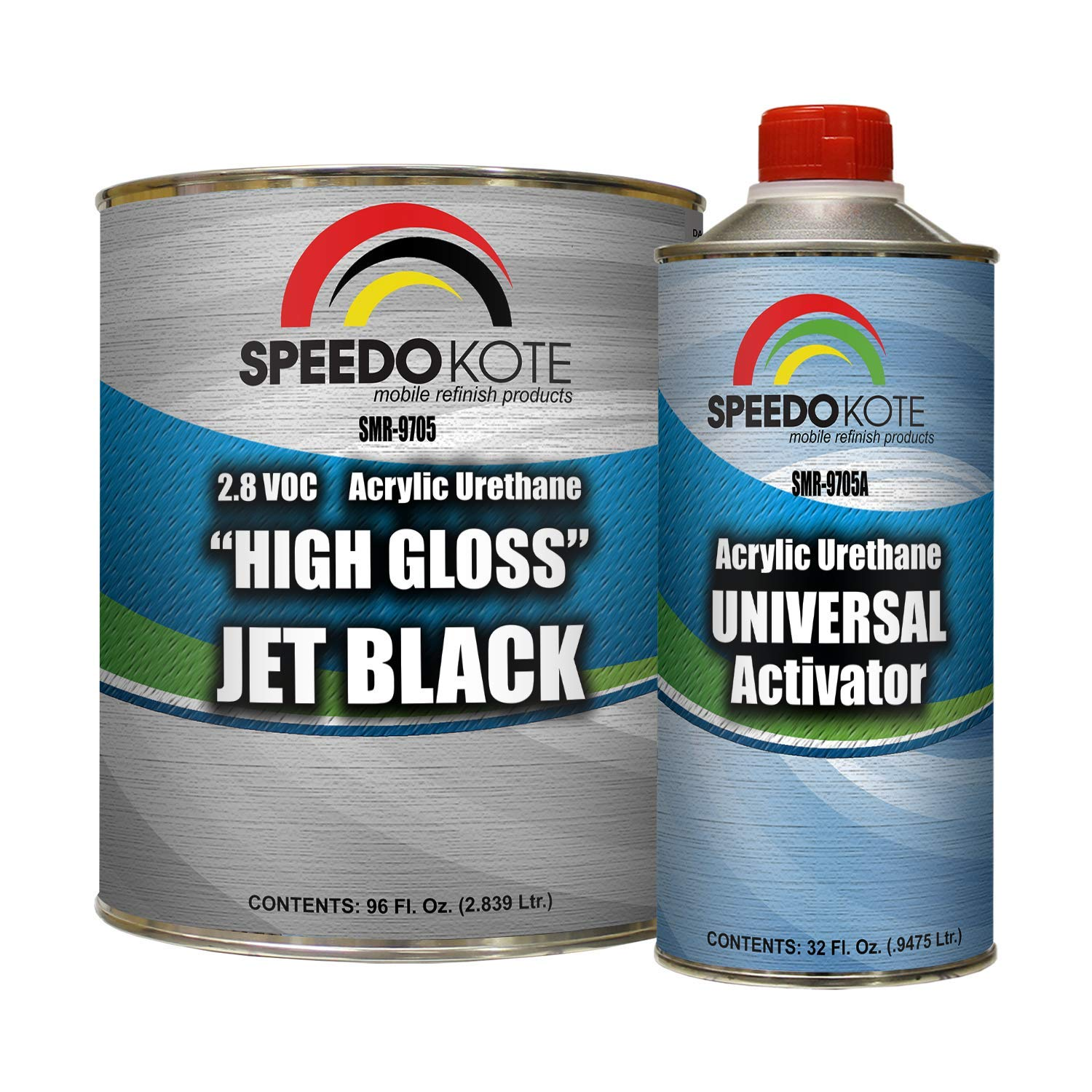 Speedokote High Gloss Jet Black 2K Acrylic Urethane, 3:1 Gallon Kit w/Activator, SMR-9705-M by Speedokote