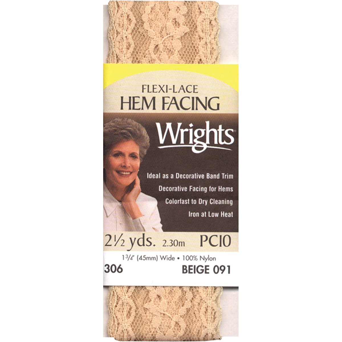 Wright Products 117-306-030 Wrights Flexi Lace Hem Facing White 2-1//2 yd
