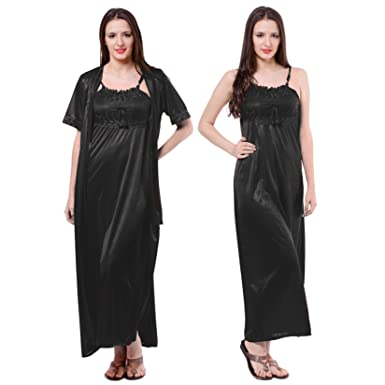 b7950a912e The Orange Tags Ladies Satin Nightdress Womens Nightie Lace Long Chemise  Gown 2pc Set (One Size  Regular (8-14)