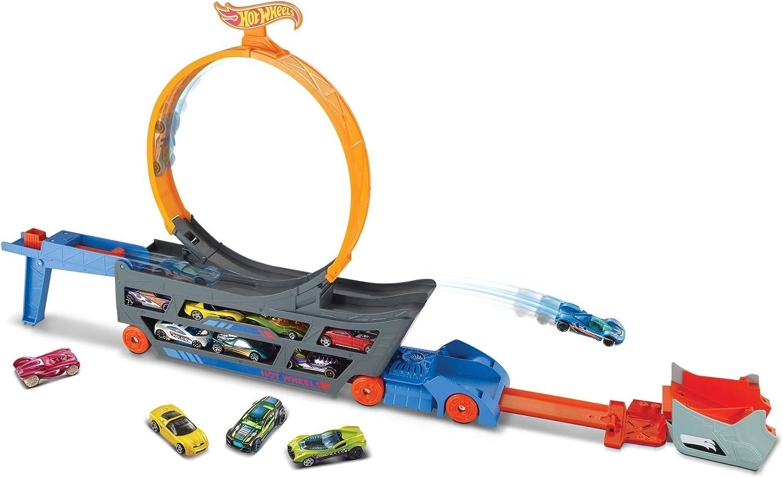 Hot Wheels Camión Looping acrobático, accesorios para pistas de coches de juguetes (Mattel GCK38)