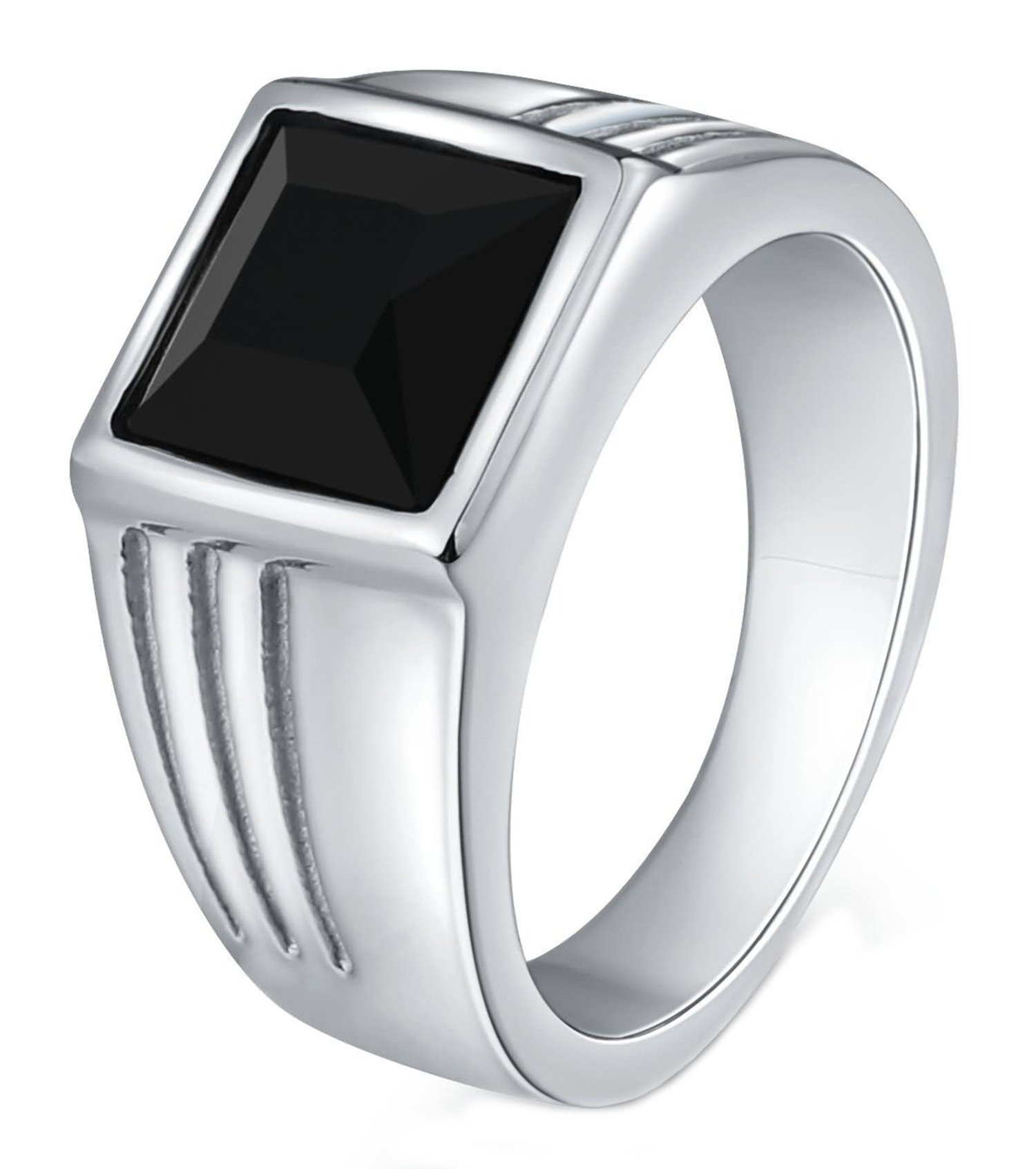 Gnzoe Men Stainless Steel Ring for Father Class Ring CZ Stone Princess Cut 10MM Silver Black Size 8