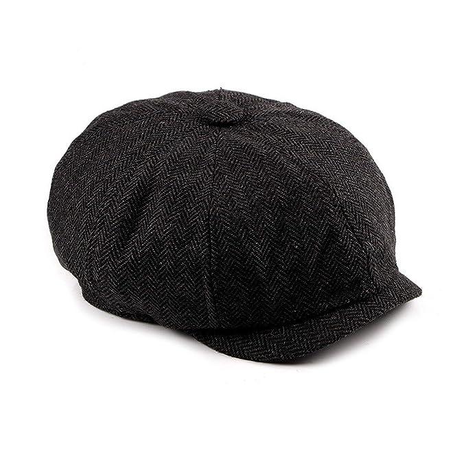 0aba53204 Newsboy Cap Beret Hat Men Women Tweed Gatsby Octagonal Black White ...