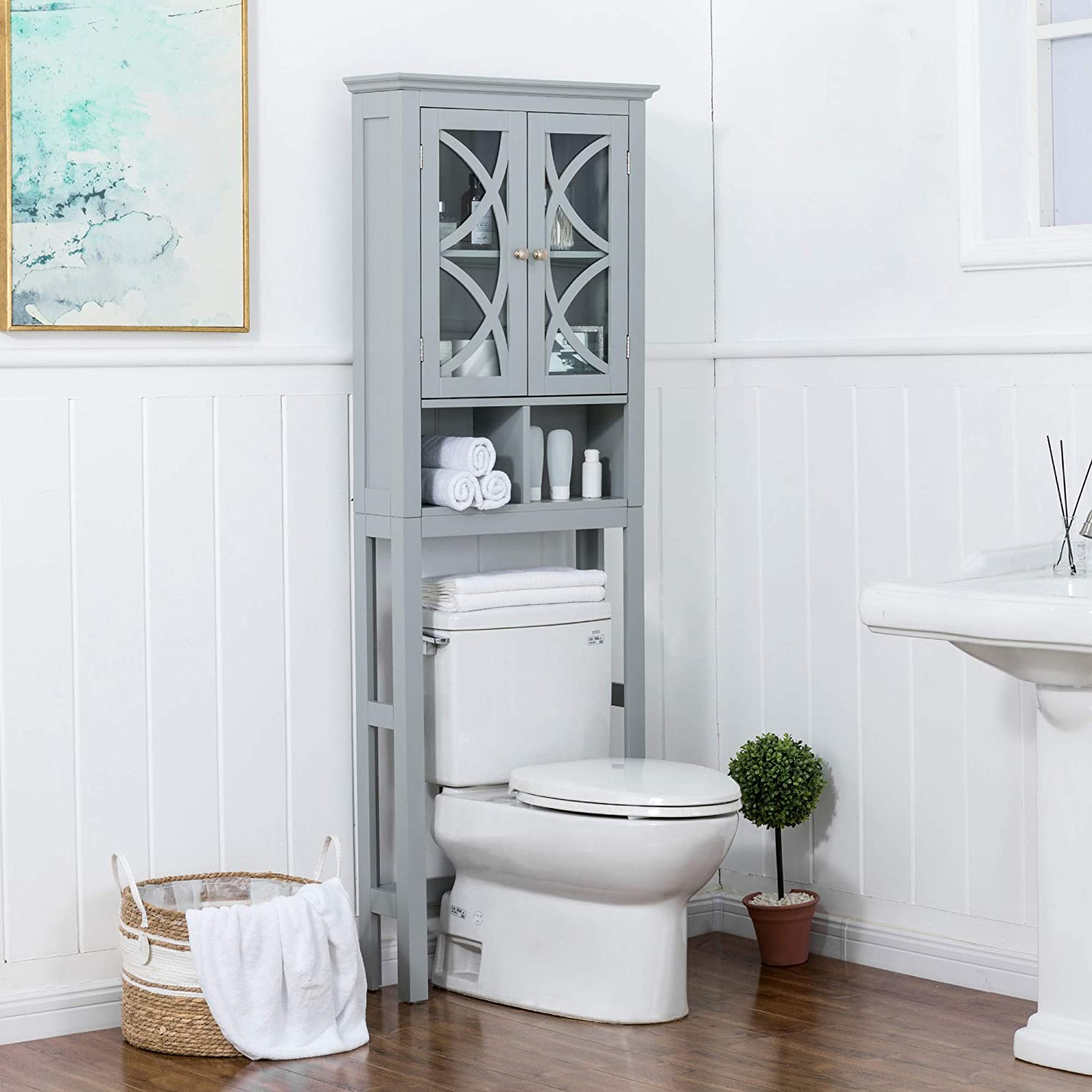 Glitzhome Bathroom Over-The-Toilet Space Saver Storage with Shelf and 2-Door Cabinet, 68