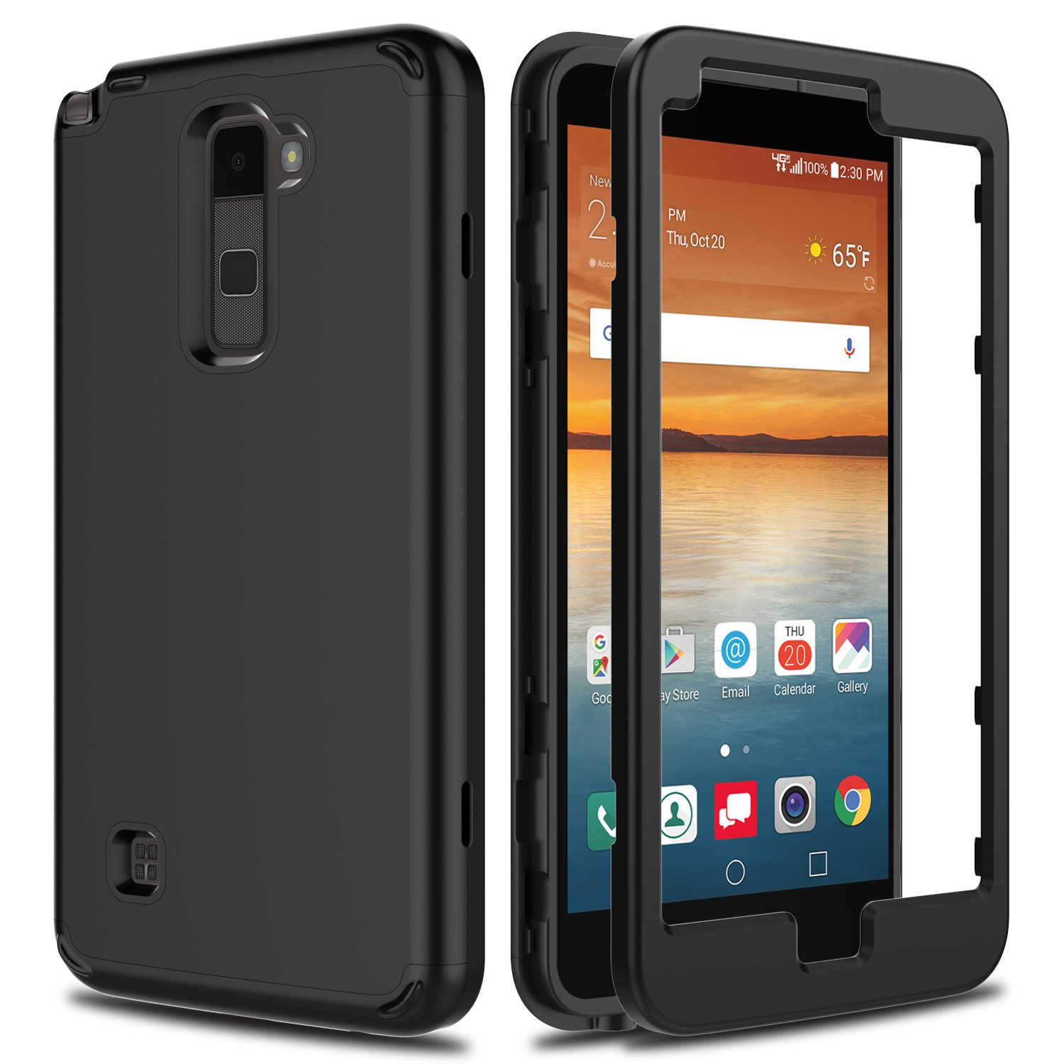 LG Stylo 2 Case, LG Stylo 2 V VS835 Case, AMENQ Slim 3 in 1 Heavy Duty Drop Absorbing Touch Rubber Protection Cover [Black] for LG Stylo 2 LS775-Matte