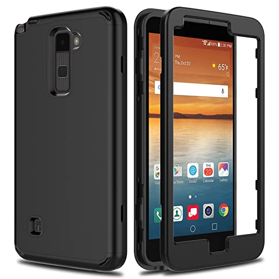 the best attitude 579f3 db350 LG Stylo 2 Case, LG Stylo 2 V VS835 Case, AMENQ Slim 3 in 1 Heavy Duty Drop  Absorbing Touch Rubber Protection Cover [Black] for LG Stylo 2 LS775-Matte