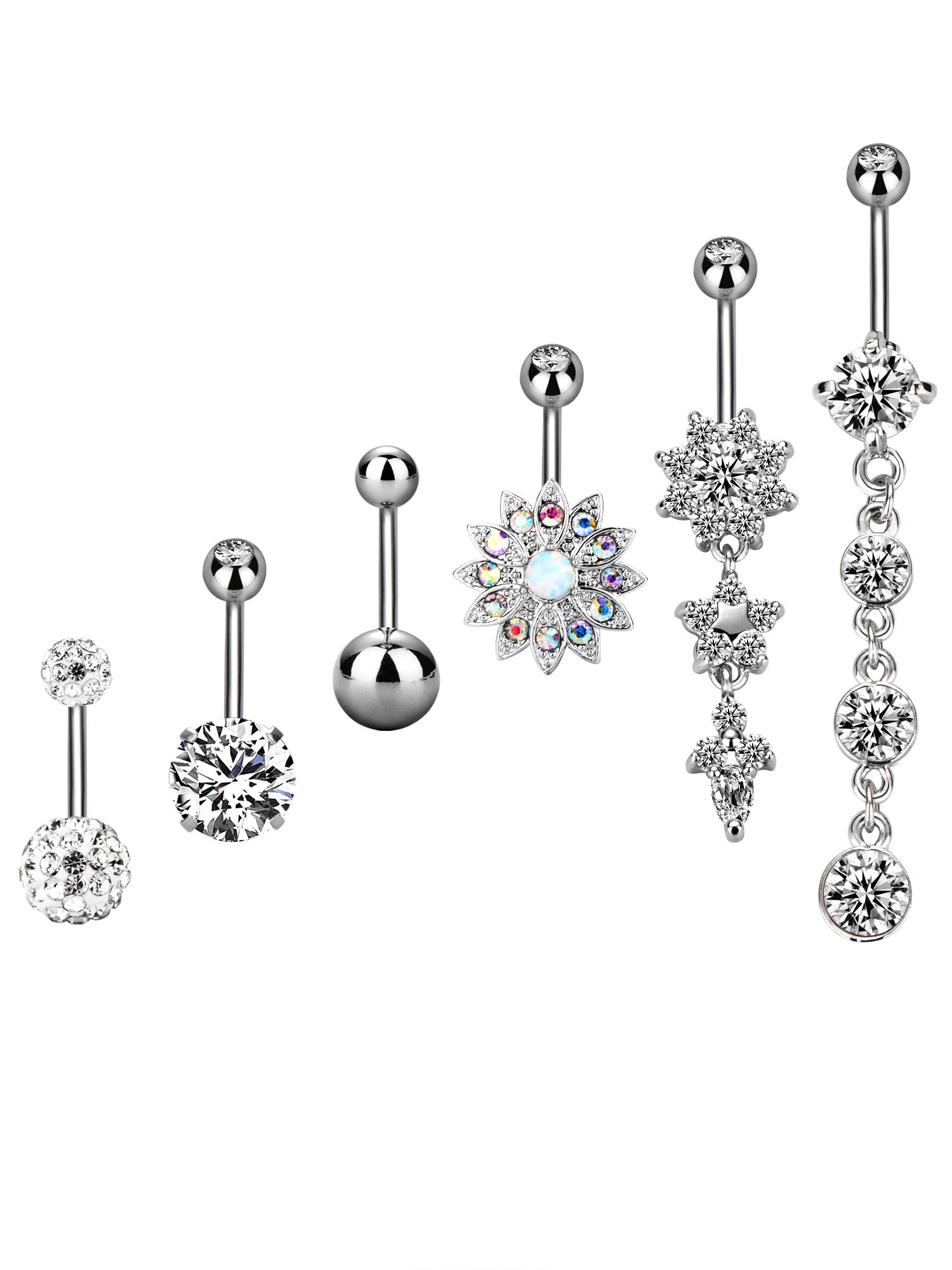 BBTO 6 Pieces 14G Stainless Steel Belly Button Rings Navel Curved Barbell Piercing for Women, 6 Styles (Silver Tone)