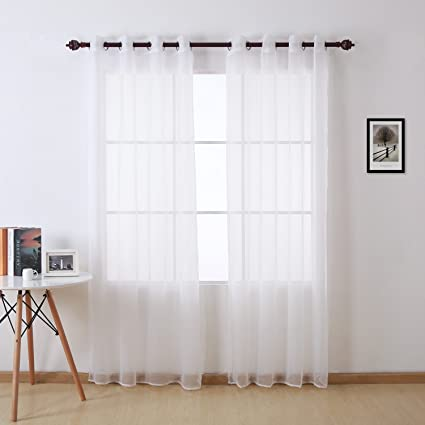 Amazon.com: Deconovo White Sheer Curtains 84 Inch Length Grommet ...