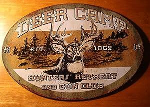 Deer Camp Est.1869 Hunters Retreat & Gun Club Rustic Buck Hunting Cabin Sign