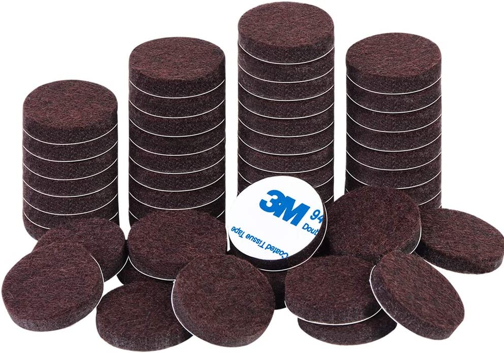 Felt Furniture Pads 1 inch 48 Pieces Pack Brown Round Self Adhesive Furniture Pads Anti Scratch Felt Pads for Chair Feet Heavy Duty 5mm Thick Floor Protector for Hardwood Floor