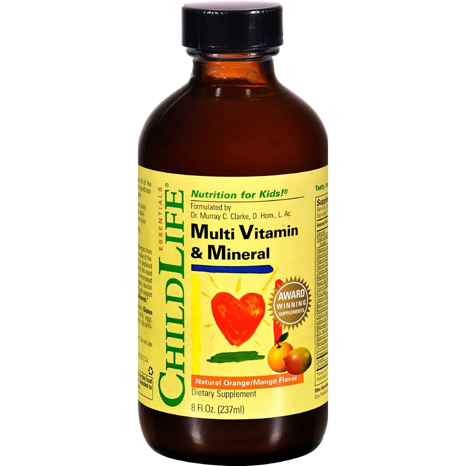 Childlife Multi Vitamin and Mineral Natural Orange Mango – Nutrition for Kids – Great Taste – 8 fl oz Pack of 4