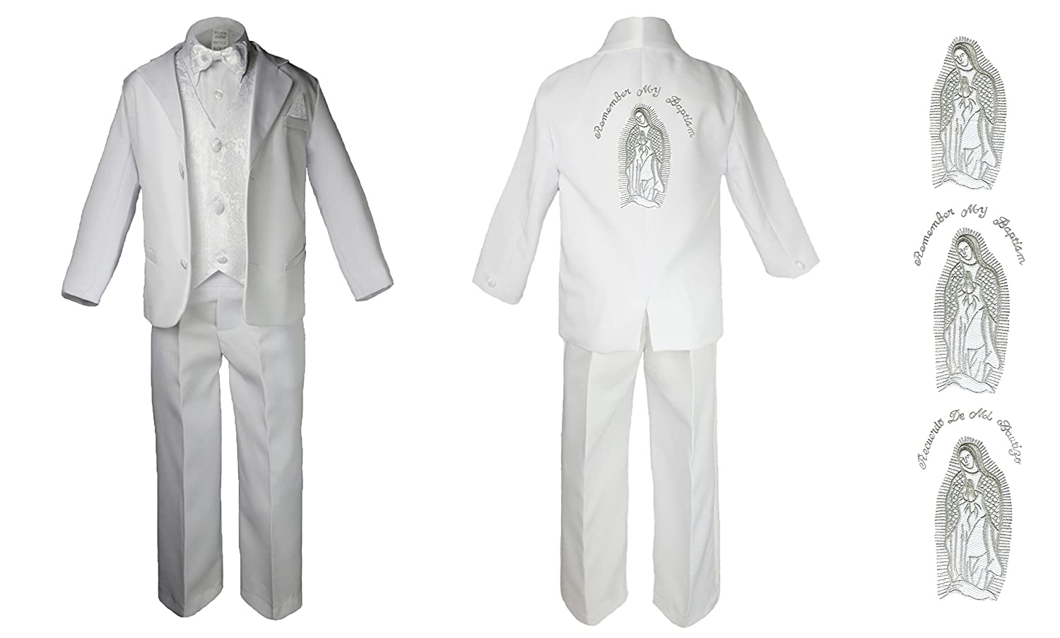 Baby Boy Christening Baptism Formal White Suit Silver Mary Maria on Back Sm-7