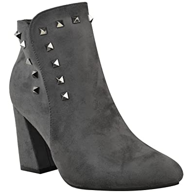 Womens Cuban Chunky Block Mid Heel Studded Ankle Boots Size