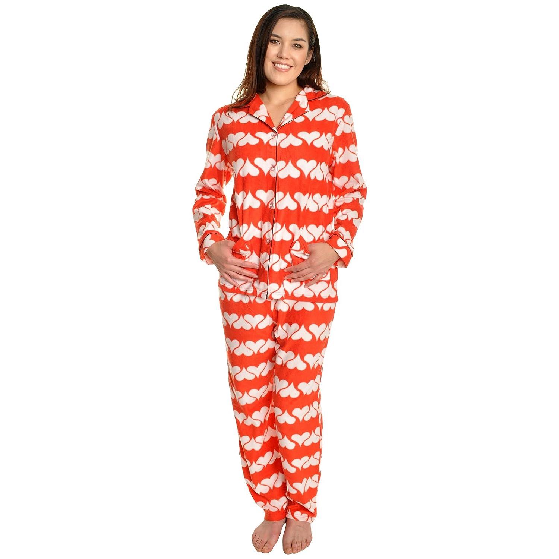 Angelina Womens Fleece Pajama Set (Red Hearts Aligned, X-Large)