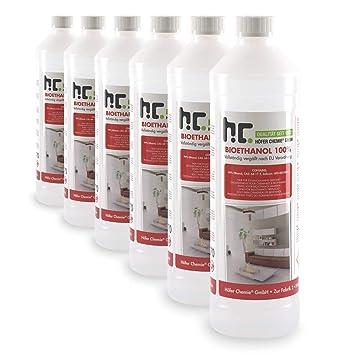 6 l de Bioetanol Premium 100% (6 x 1 l) para chimenea - en seis botellas seguras de 1 l, para uso en casa: Amazon.es: Jardín