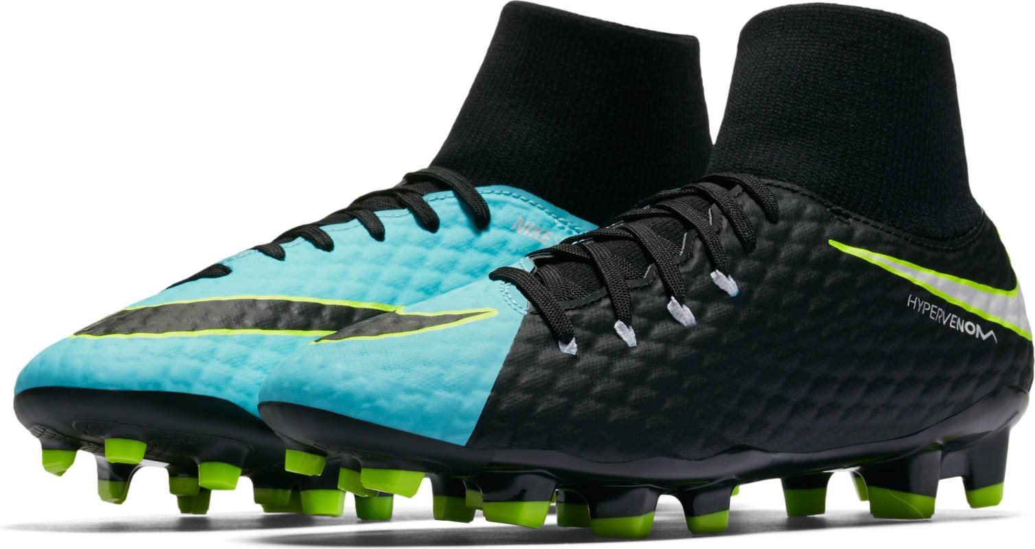 Nike New Women's Hypervenom Phelon III Dynamic Fit FG Soccer Cleat Aqua/Black 8