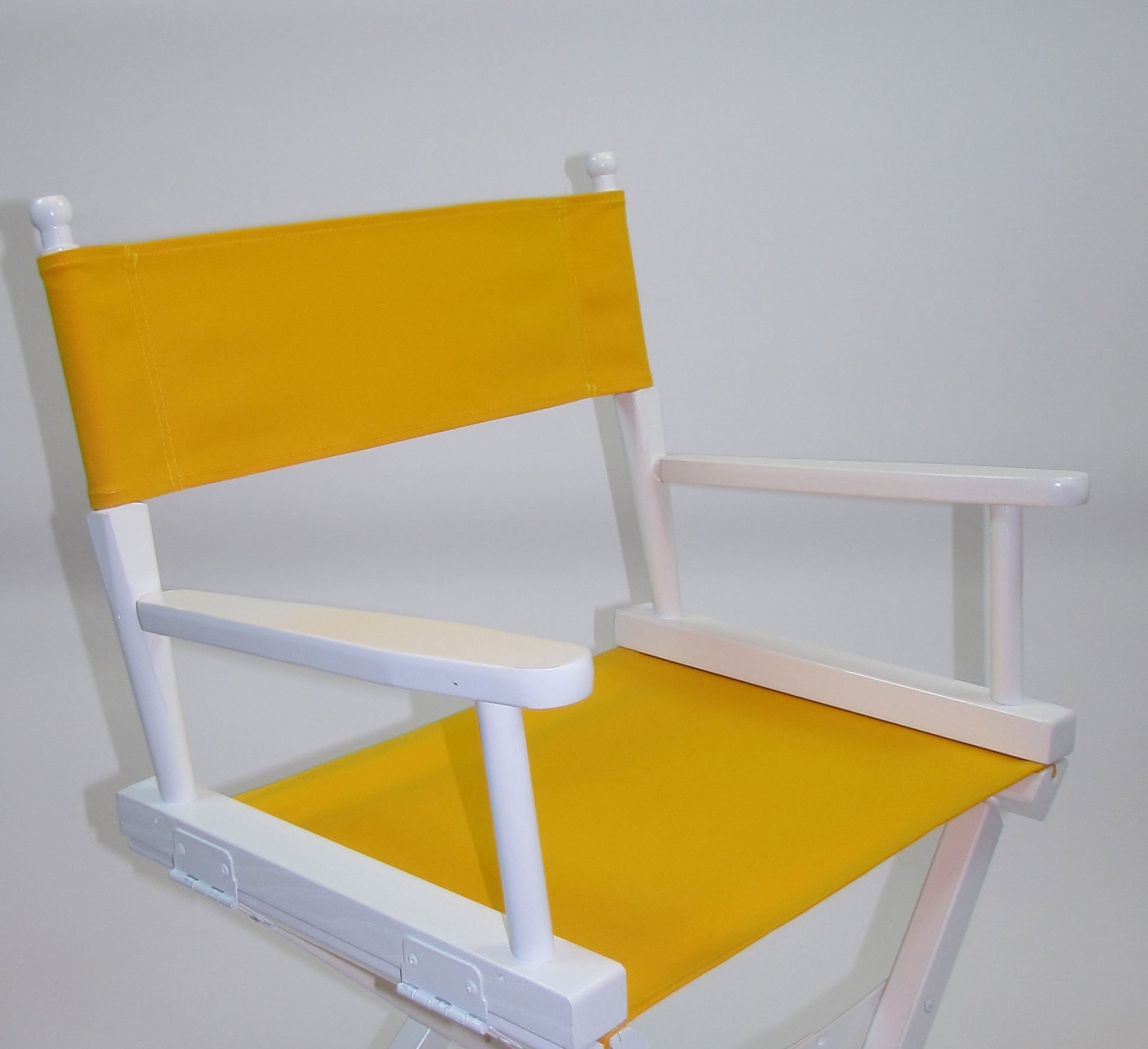PERSONALIZED IMPRINTED Gold Medal Contemporary 24'' Counter Height White Frame Directors Chair - Yellow