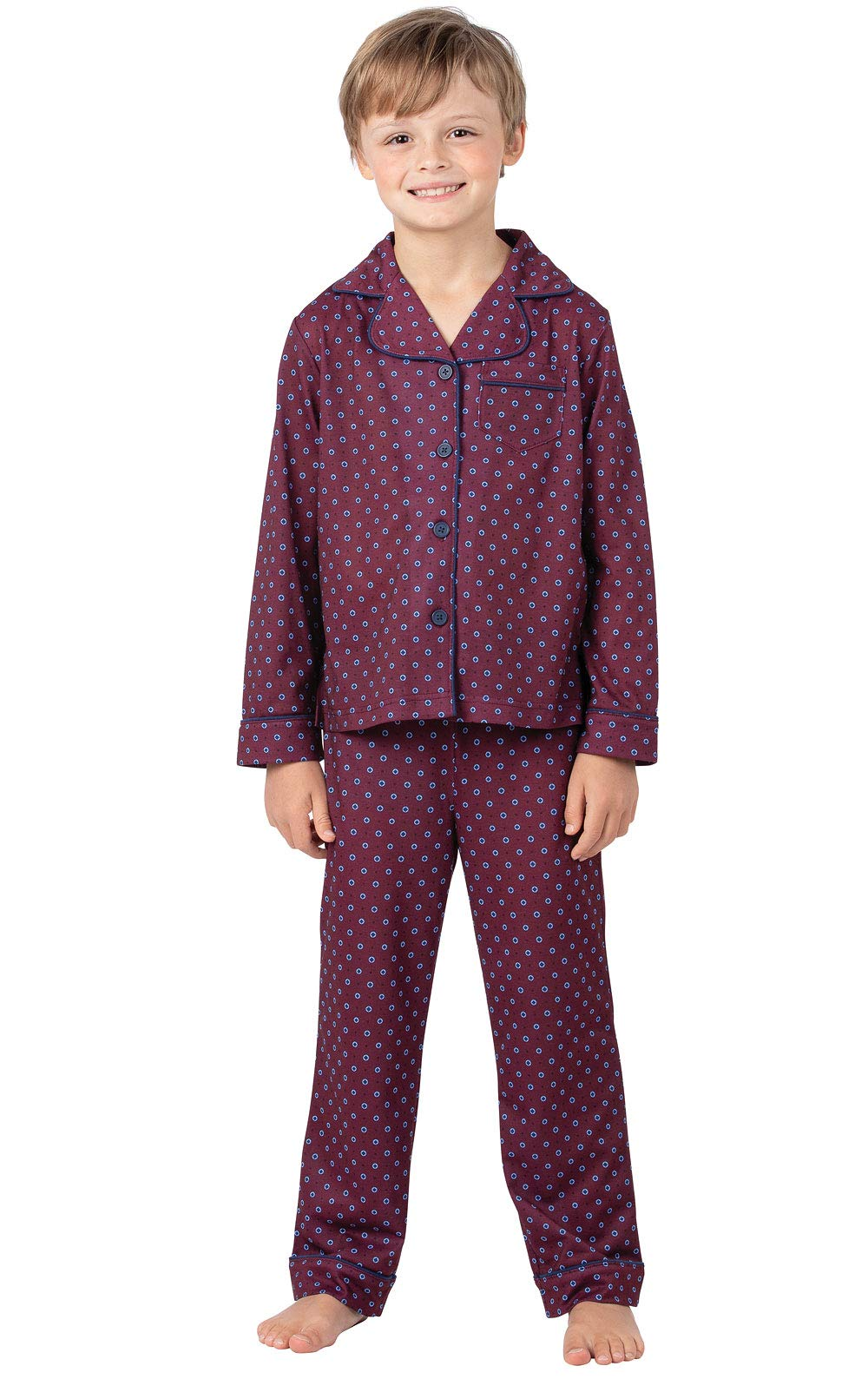 PajamaGram Classic Foulard Boys Pajamas - Burgundy 8