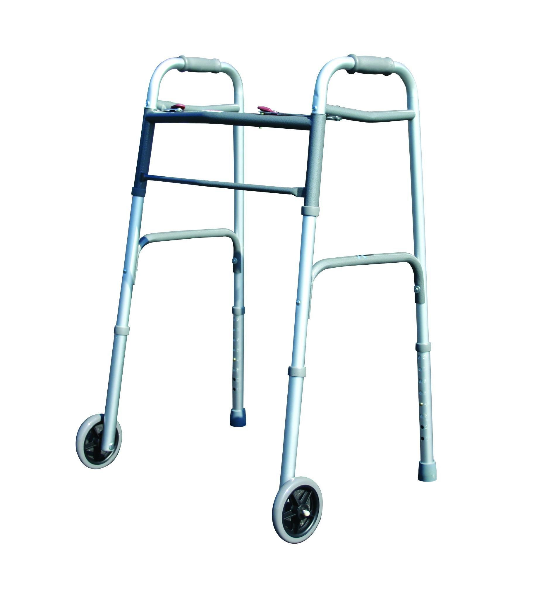 Deluxe 2 Button Folding Walker With 5'' Wheels Box of 4