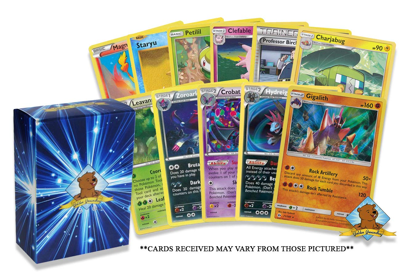 Commons Includes Golden Ground Storage Box! Rares Holos Pokemon Cards 50 Card Assorted Lot Uncommons Pokemon Card Random Repack