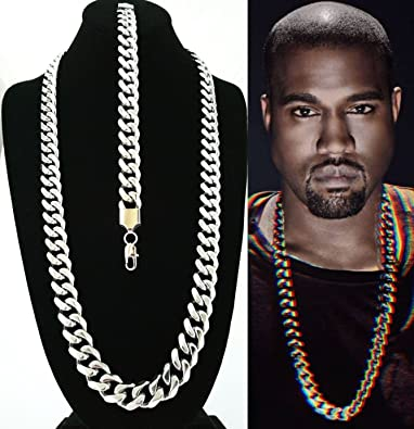 e9ce38c3fc50e Amazon.com: Solid Heavy 15mm Stainless Steel Miami Cuban Link Chain ...