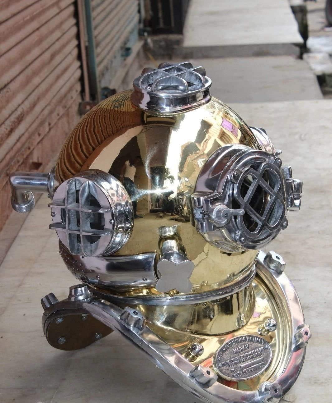 Antique Brass Scuba Mini Diving Divers Helmet US Navy Mark V Solid Steel Vintage