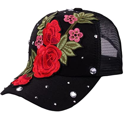 51ef85b6 Image Unavailable. Image not available for. Color: New arrival Styling  Adjustable Flower Rose Rhinestone Denim Baseball Mesh Cap ...