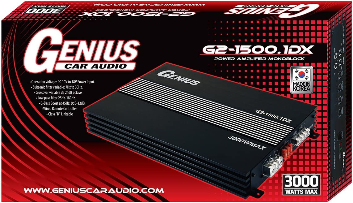 Genius GXP-200.4D 2400 Watts-MAX Compact Car Full Range Amplifier 4 Channel Class-D 2-Ohm Stable Aricasa