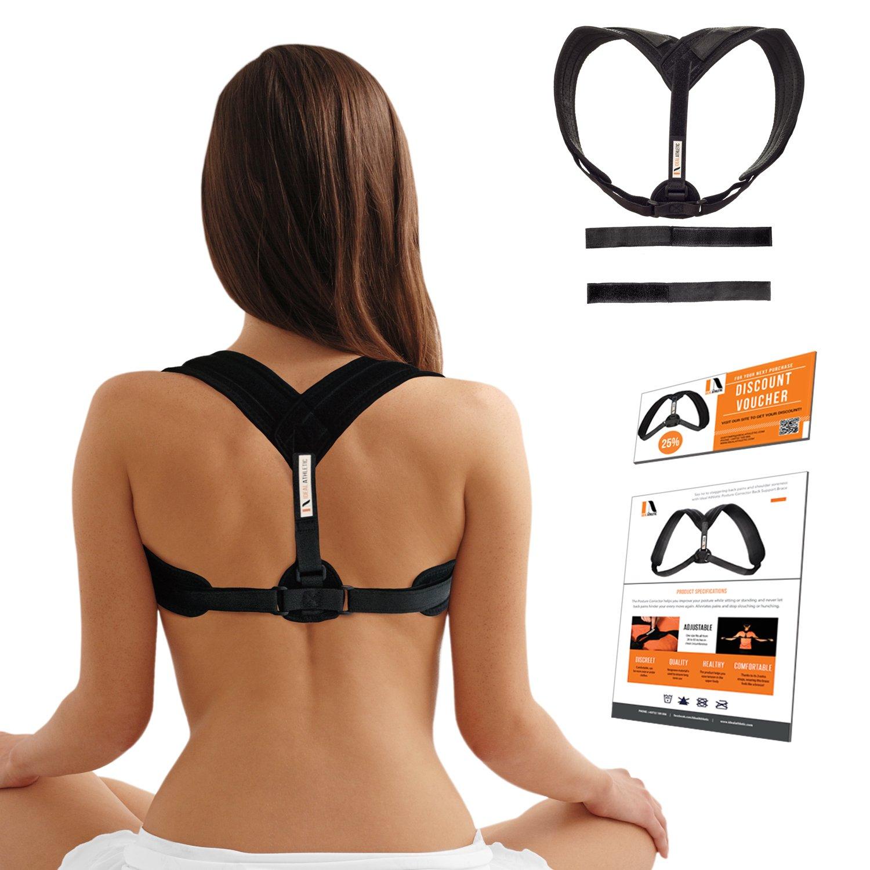 Posture Corrector Back & Shoulder Support Brace For Women, Men & Teens Ideal Athletic™ - Breathable Neoprene, Adjustable Straps For Comfy Fit Who Alleviate Back Pain & Soreness - Improve Bad Posture