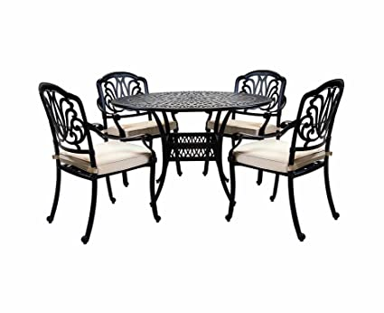 29323eb8d376 Charles Bentley Cast Iron Garden Dining Set 4 Seater - Color  Black   Amazon.co.uk  Kitchen   Home
