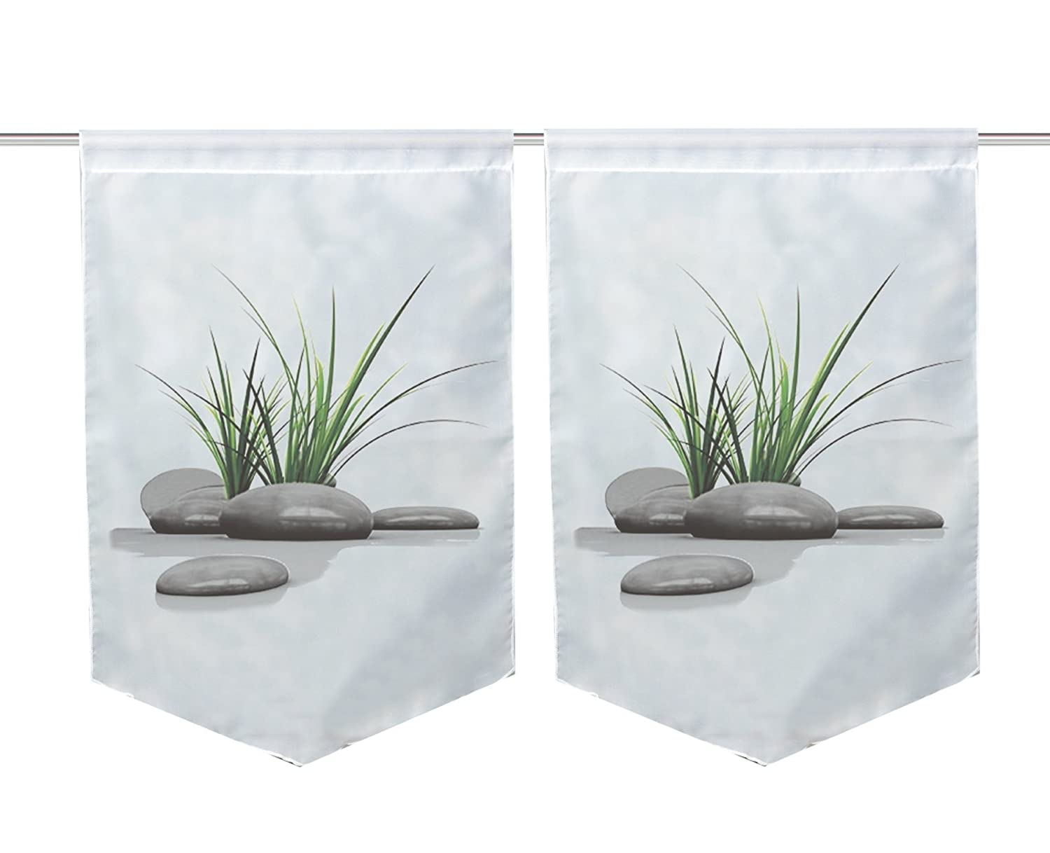 FASHION FOR HOME Home Fashion 55933368Digital Print Window Decoration Voile 2Pack, Green, 45x 30x 45cm 55933-368