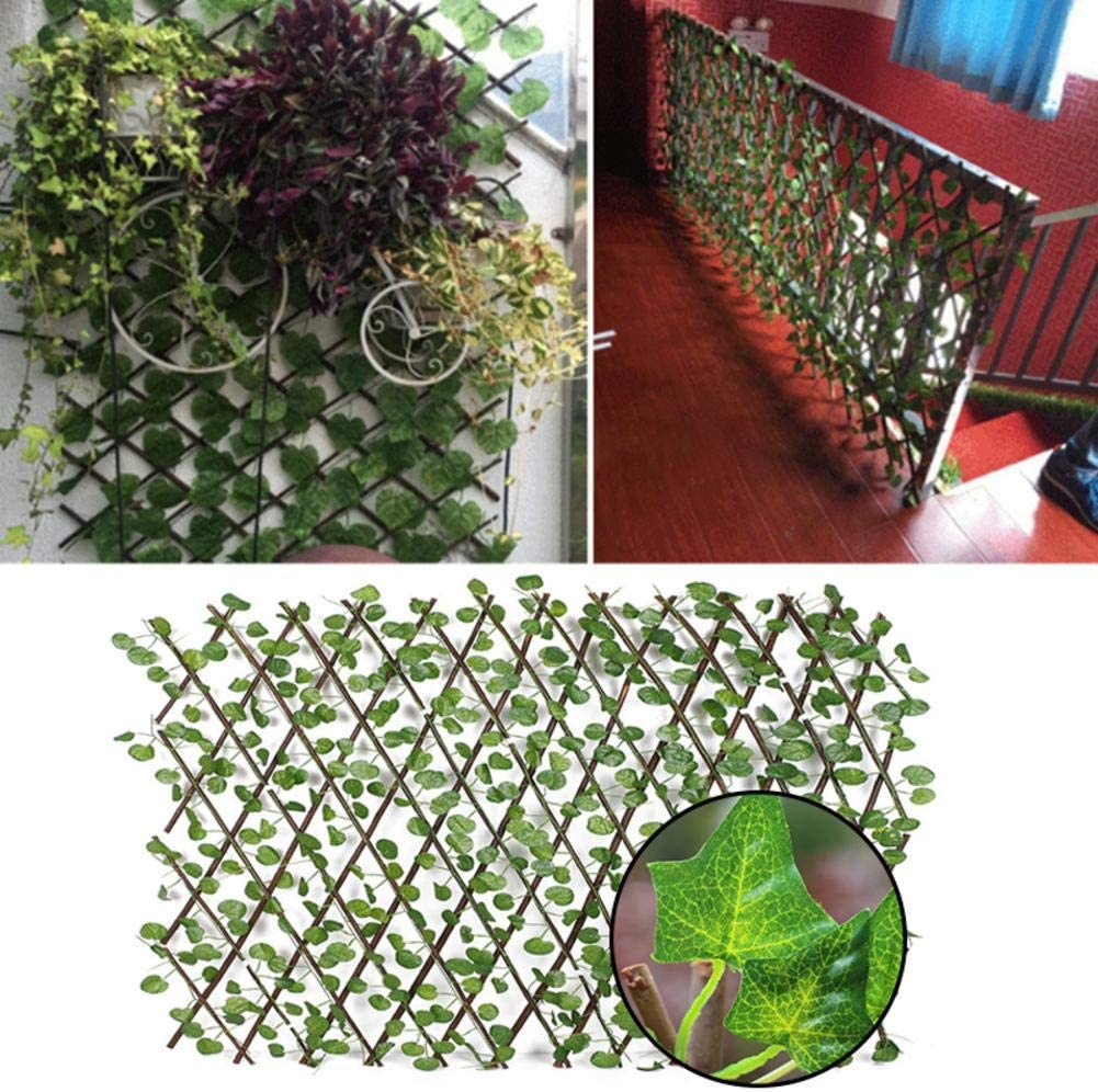 Expanding Trellis Fence Backyard Home Decor Greenery Walls Faux Ivy Privacy Fence Screen with Expand Retractable Panel-Artificial Leaf Vine Hedge