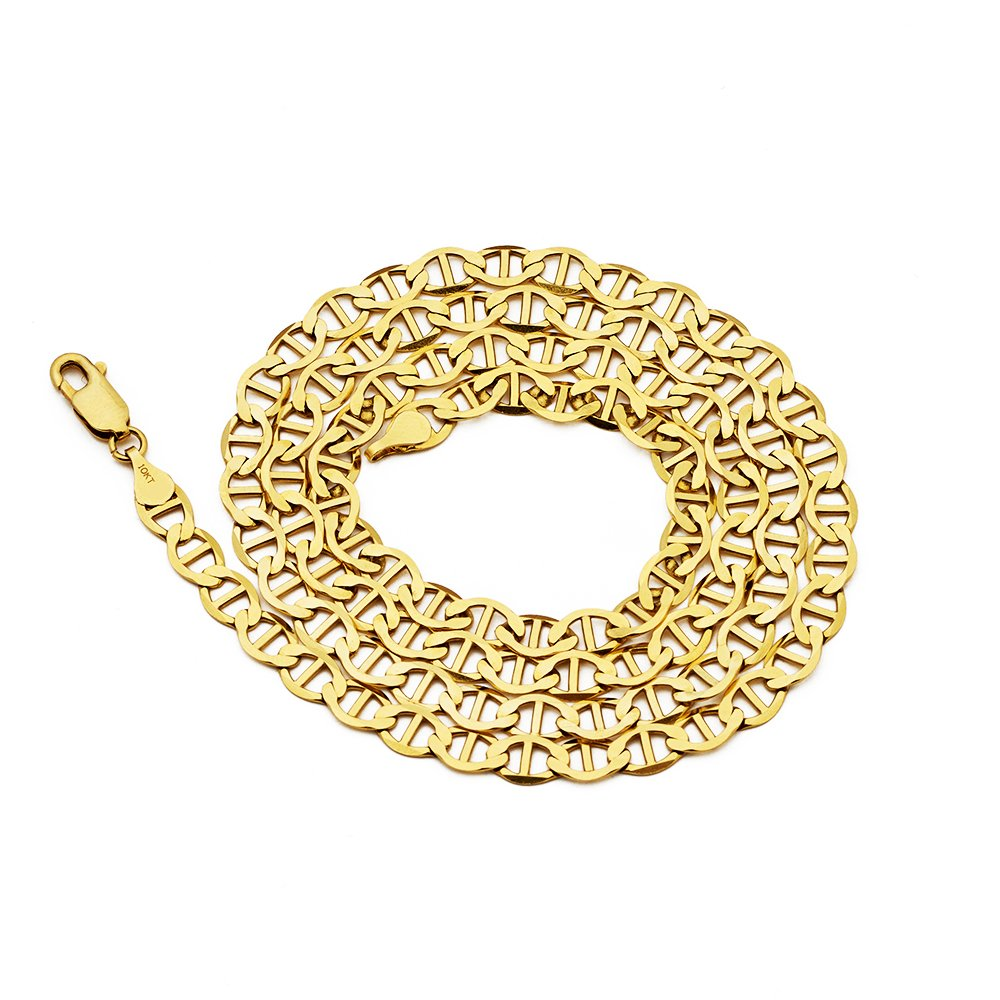 LoveBling 10K Yellow Gold Solid Mariner Chain Necklace with Lobster Lock, Available in 2.5mm to 6mm, 16'' to 30'' (18, 5mm) by LOVEBLING