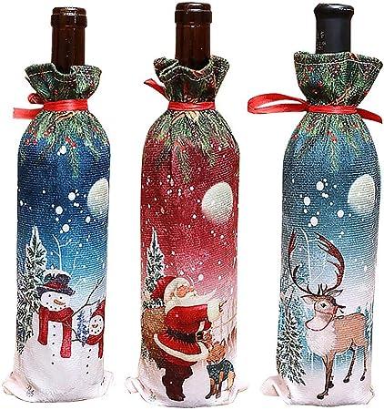 3 Pcs bolsas de tapa de botella de vino de Navidad Decoración - Cubierta de botella de Santa Claus Snowman Deer Desigh para fiesta de Navidad de año nuevo (color aleatorio): Amazon.es: