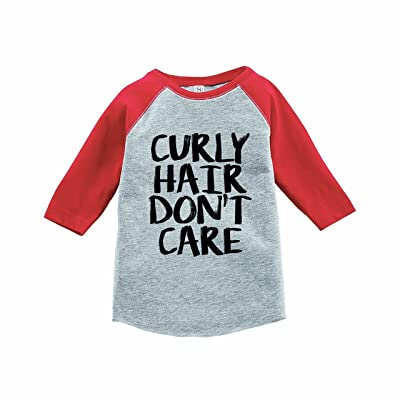7 ate 9 Apparel Funny Kids Curly Hair Don't Care Baseball Tee Red