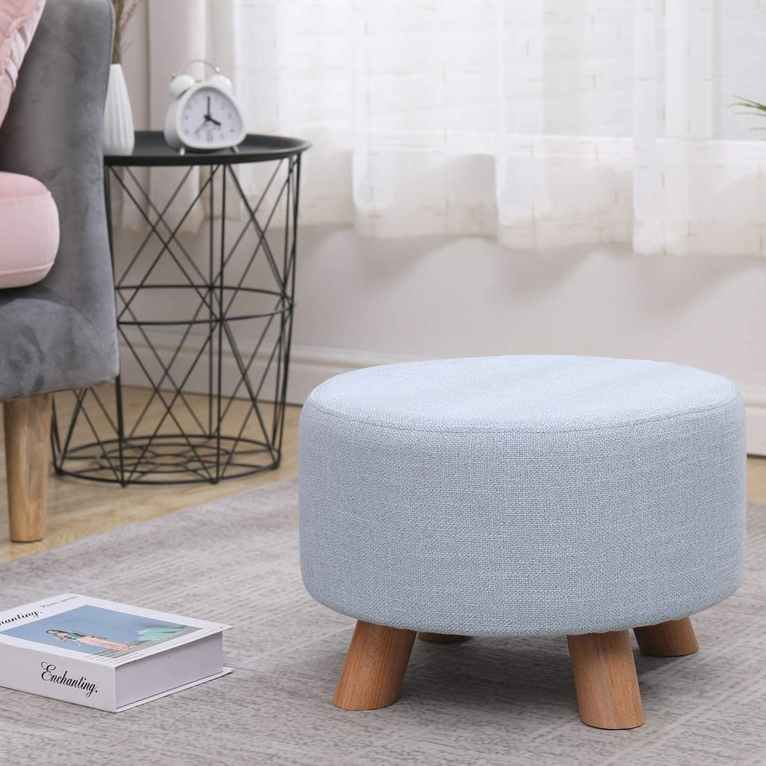 LEITING Ottoman Footstool Footrest Foot Stool Pouffe Padded Modern Home Living Room Bedroom Round Seat with Removable Stool Cover, 4 Beech Wooden Legs (Yellow) Blue