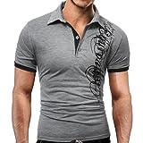 Elecenty Herren Sommerbluse T-shirt ,Drucken Polo Blusen Umlegekragen Pulli Blusentop Männer Kurzarm-Shirt Sommerhemd Tops Haushemd Mode Pullover Freizeithemd Bluse