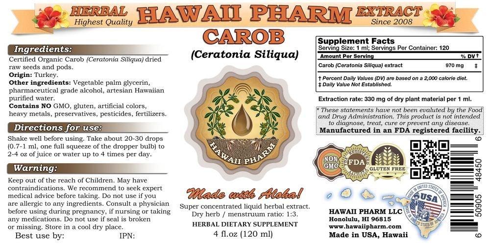 Carob Liquid Extract, Organic Carob (Ceratonia Siliqua) Tincture Supplement 15x4 oz by HawaiiPharm (Image #2)
