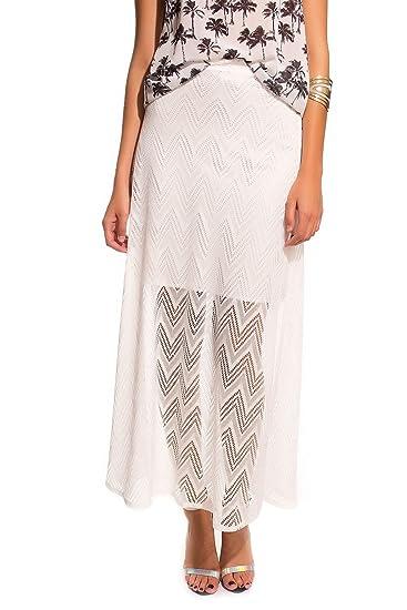 Q2 Mujer Falda larga blanca de crochet zig zag - XS - Blanco ...