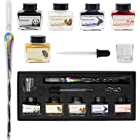 Glass Dip Pen Set With Ink (5 Colors) Glass Pen & Dip Pen Ink - Glass Fountain Pen For Calligraphy with Glass Dipping…