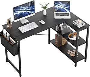 Small L Shaped Computer Desk, Besiture 47 Inch L-ShapedCornerDesk with Reversible Storage Shelves for Home Office Workstation, Modern Simple Style Writing Desk Table with Storage Bag(Black)
