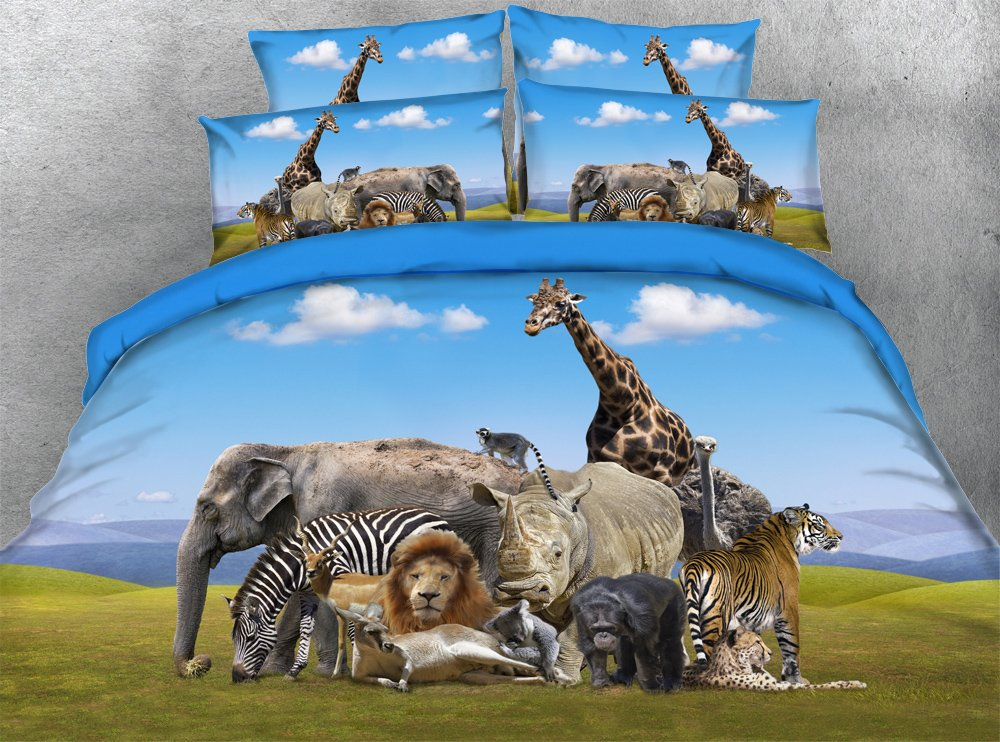 JF-018 African animals scenery printed duvet cover set 3pcs elephant tiger giraffe lion hippo bedding sets kids bed linen (Full) by Goldeny