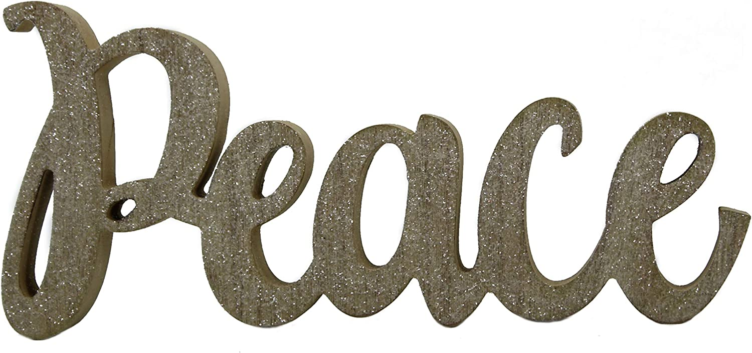 """Windy Hill Collection 12"""" x 5.5"""" Freestanding Natural Wood with White Glitter Peace Cutout Wood Block Home Décor 719140"""